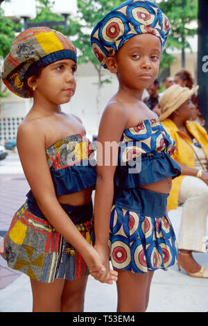 Miami Florida Dade Community College Ethnic Festival dancers ready to perform - Stock Photo