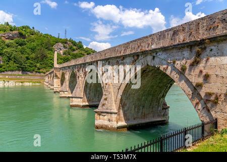 Ottoman Mehmed Pasha Sokolovic stone bridge at river Drina, Visegrad, Bosnia and Herzegovina. - Stock Photo