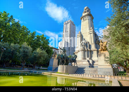 Monument to Cervantes on Plaza de Espana with sculptures of Don Quixote and Sancho Panza. Madrid, Spain - Stock Photo
