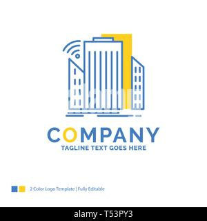 Buildings, city, sensor, smart, urban Blue Yellow Business Logo template. Creative Design Template Place for Tagline. - Stock Photo