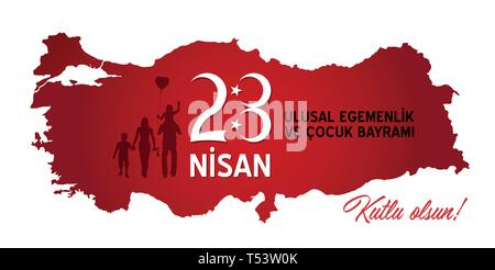 Turkish children's day celebration at April 23. All the objects are in different layers and the text types do not need any font. - Stock Photo