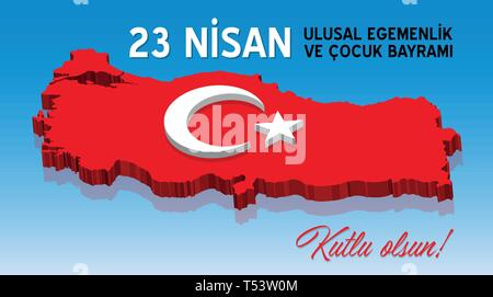 National sovereignth and children's day of Turkey at April 23. All the objects are in different layers and the text types do not need any font. - Stock Photo
