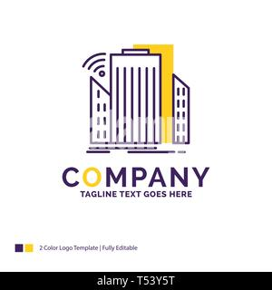 Company Name Logo Design For Buildings, city, sensor, smart, urban. Purple and yellow Brand Name Design with place for Tagline. Creative Logo template - Stock Photo