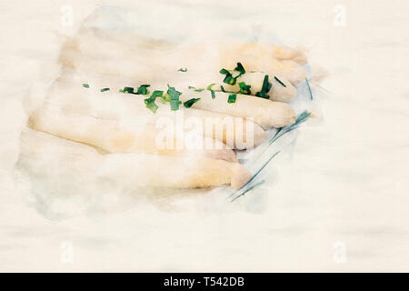 plate with cooked asparagus in watercolors - Stock Photo