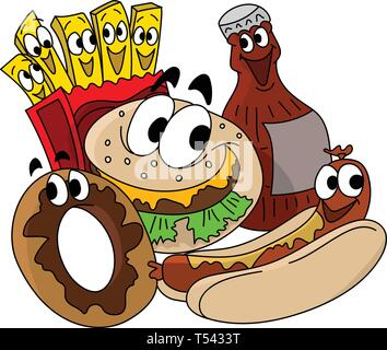 Cartoon fast food character designs, cheeseburger, french fries, donut and cola vector illustration - Stock Photo