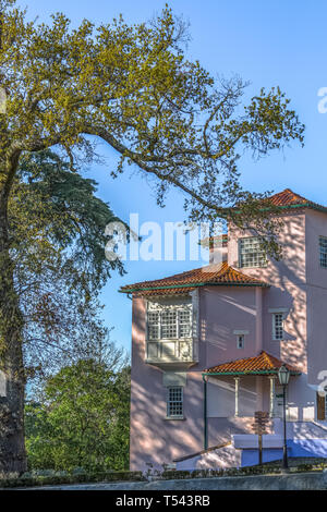 Detailed view of classic building located in the tourist complex of the Bussaco forest - Stock Photo