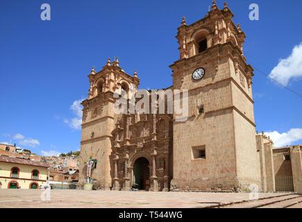 Cathedral Basilica of Saint Charles Borromeo in Puno, Peru, South America - Stock Photo