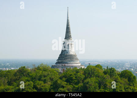 Old chedi Phra That Chom Phet on the top of the palace hill Phetchaburi. Thailand - Stock Photo