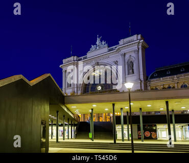 Facade of Keleti railway station from underground space at night.This is the main station of the Budapest city,Hungary. - Stock Photo