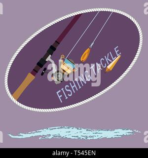 spinning with the coil and baubles with hooks. Stylized wave of water. For fishermen and shop, vector illustration - Stock Photo