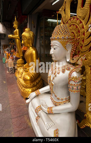 Thailand, Bangkok, Thanon Bamrung Mueang, Soi Mahannop2, Buddhist Supplies Shop, large ornately decorated white and golden buddhas for sale - Stock Photo