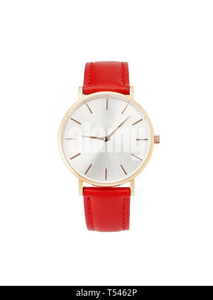 Classic women's gold watch with white dial, red leather strap, isolate on a white background. Front view. - Stock Photo