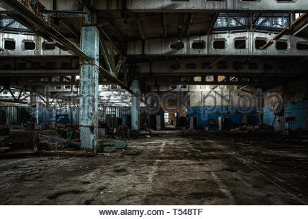 Building interior in Jupiter Factory, Chernobyl Exclusion Zone 2019 angle shot - Stock Photo
