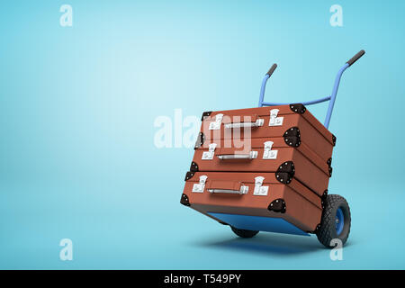 3d rendering of blue hand truck with stack of three brown suitcases on top on light-blue background with copy space. - Stock Photo