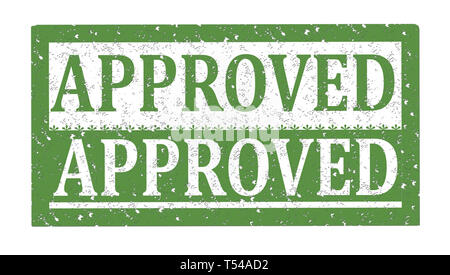 Rubber stamp APPROVED, text on white illustration - Stock Photo