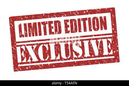 Rubber Stamp Limited Edition Exclusive , text on white illustration - Stock Photo