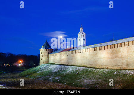 Veliky Novgorod Kremlin and bell tower of St Sofia cathedral in winter night in Veliky Novgorod, Russia, winter night scene - Stock Photo