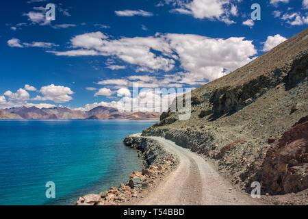 Beautiful landscape of the Pangong Tso Lake in Ladakh, Northern India - Stock Photo