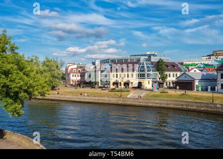 Belarus, Minsk - June 17, 2018: Summer view of the famous Zybickaja street and Svisloch river in Minsk city center, Belarus - Stock Photo