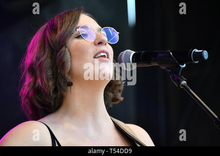 London, UK. 20th April, 2019.Basking in London - Lucy May Walker performs Lydia Bright presenter at the Feast of St George to celebrate English culture with music and English food stalls in Trafalgar Square on 20 April 2019, London, UK. Credit: Picture Capital/Alamy Live News - Stock Photo