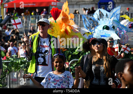 London, UK. 20th April, 2019.Feast of St George to celebrate English culture with music and English food stalls in Trafalgar Square on 20 April 2019, London, UK. Credit: Picture Capital/Alamy Live News - Stock Photo