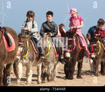 Skegness, UK. 20th Apr, 2019. Children seen riding the donkeys on the sandy beach at Skegness during Easter.People enjoy the unseasonably warm Easter weather in the UK - especially the children having donkey rides on the sandy beach at Skegness. The traditional seaside attraction started in Victorian times, but is now seen much less in the major resorts, but is still popular on the Lincolnshire beaches of Skegness, Mablethorpe and Ingoldmells. Credit: Keith Mayhew/SOPA Images/ZUMA Wire/Alamy Live News - Stock Photo