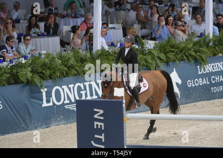 Miami, USA. 20th Apr, 2019. Georgina Bloomberg at the Longines Global Champions Tour finals in Miami Beach. Singer Bruce Springsteen's daughter Jessica Rae Springsteen and fellow riders Former Mayor of New York Michael Bloomberg's daughter Georgina Bloomberg as well as Bill Gates daughter Jennifer Gates were all in attendance on April 20, 2019 in Miami Beach, Florida   People:  Georgina Bloomberg Credit: Storms Media Group/Alamy Live News - Stock Photo