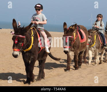 Skegness, UK. 20th Apr, 2019. Children seen riding the donkeys on the sandy beach at Skegness during Easter. People enjoy the unseasonably warm Easter weather in the UK - especially the children having donkey rides on the sandy beach at Skegness. The traditional seaside attraction started in Victorian times, but is now seen much less in the major resorts, but is still popular on the Lincolnshire beaches of Skegness, Mablethorpe and Ingoldmells. Credit: SOPA Images Limited/Alamy Live News - Stock Photo