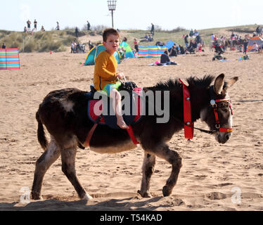 Skegness, UK. 20th Apr, 2019. Child seen riding a donkey on the beach at Skegness during Easter. People enjoy the unseasonably warm Easter weather in the UK - especially the children having donkey rides on the sandy beach at Skegness. The traditional seaside attraction started in Victorian times, but is now seen much less in the major resorts, but is still popular on the Lincolnshire beaches of Skegness, Mablethorpe and Ingoldmells. Credit: SOPA Images Limited/Alamy Live News - Stock Photo