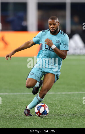 Gillette Stadium. 20th Apr, 2019. MA, USA; New England Revolution defender Andrew Farrell (2) during an MLS match between New York Red Bulls and New England Revolution at Gillette Stadium. Anthony Nesmith/CSM/Alamy Live News - Stock Photo