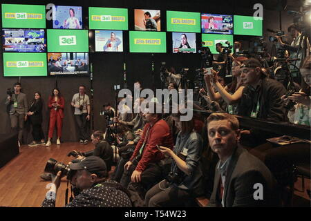 KIEV, UKRAINE - APRIL 21, 2019: The election campaign headquarters of Ukrainian presidential candidate Volodymyr Zelensky during the second round of the 2019 Ukrainian presidential election. Anna Marchenko/TASS Credit: ITAR-TASS News Agency/Alamy Live News - Stock Photo