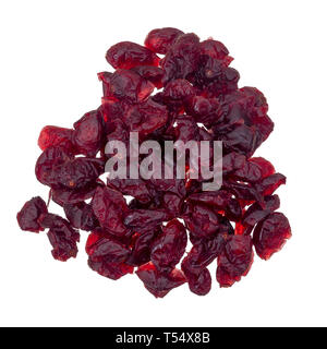 Dried red cranberries isolated on white, top view. - Stock Photo