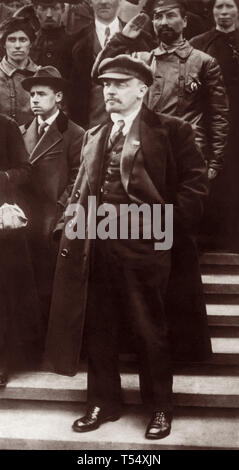 Vladimir Lenin attending May Day demonstration at Red Square in Moscow on May 1, 1919. - Stock Photo