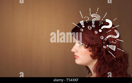 Head with white question marks, and copy space  - Stock Photo