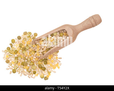 Pearl barley with beans, pulses. split green peas and yellow lentils. Healthy eating source of vitamins and fibre. With scoop, isolated on white. Stock Photo