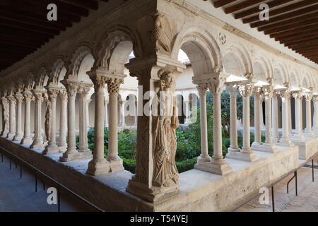Statue of St. Peter in the Aix Cathedral (Cathédrale Saint-Sauveur d'Aix-en-Provence) cloister, Aix-en-Provence, France. - Stock Photo