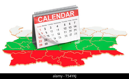 Desk calendar on the map of Bulgaria. 3D rendering isolated on black background - Stock Photo
