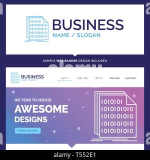 Beautiful Business Concept Brand Name Binary, code, coding, data, document Logo Design and Pink and Blue background Website Header Design template. Pl - Stock Photo