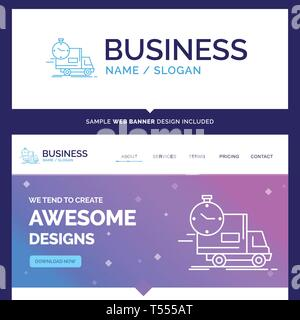 Beautiful Business Concept Brand Name delivery, time, shipping, transport, truck Logo Design and Pink and Blue background Website Header Design templa - Stock Photo