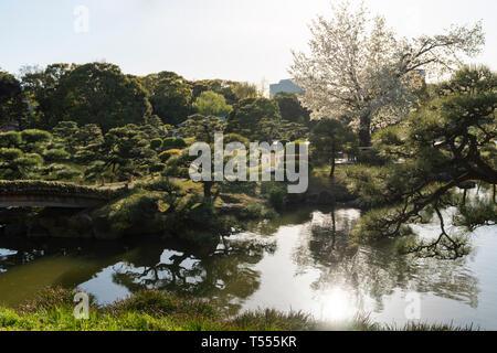 Kiyosumi Garden, Koto-Ku, Tokyo, Japan - Stock Photo