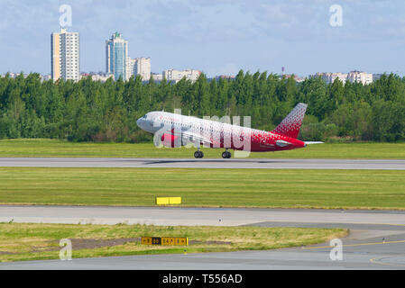 SAINT-PETERSBURG, RUSSIA - JUNE 20, 2018: Aircraft A320-214 (VP-BWH) of the Rossiya airline taking off. Pulkovo Airport - Stock Photo