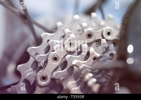 Rear mountain bike cassette on the wheel with chain - Stock Photo