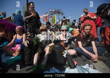 Extinction Rebellion demonstrators on Waterloo Bridge in London. - Stock Photo
