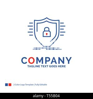 Company Name Logo Design For Defence, firewall, protection, safety, shield. Blue and red Brand Name Design with place for Tagline. Abstract Creative L - Stock Photo
