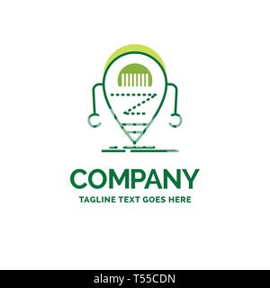 Android, beta, droid, robot, Technology Flat Business Logo template. Creative Green Brand Name Design. - Stock Photo
