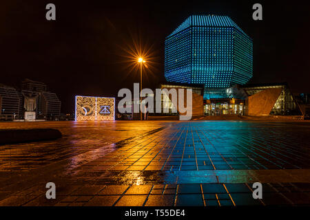 The National Library of Belarus in Minsk at night - Stock Photo