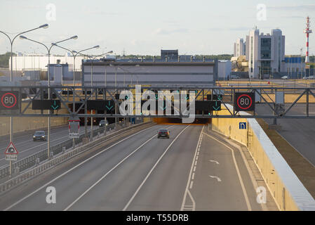 ST. PETERSBURG, RUSSIA - JUNE 20, 2018: Entry in an underwater tunnel on a dam of the ring highway. Kronstadt - Stock Photo