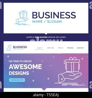 Beautiful Business Concept Brand Name gift, surprise, solution, idea, birthday Logo Design and Pink and Blue background Website Header Design template - Stock Photo