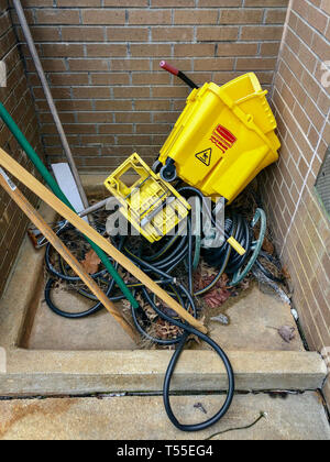 Outdoor Janitorial station in equipment disorderly - Stock Photo