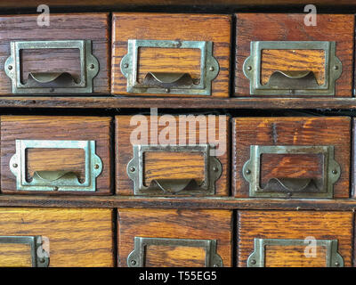 FAYETTEVILLE, NC - CIRCA April 2019 : Antique Storage Pullout Drawers Organization Equipment - Stock Photo